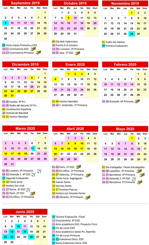Calendario Escolar Barcelona.Colegioimperialsanvicente